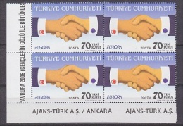 Europa Cept 2006 Turkey 1v Bl Of 4 (corner) ** Mnh (20034) - 2006