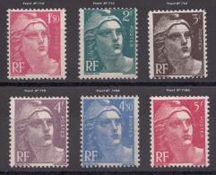 6 Timbres De France  ´   1945/ 47 ** MNH   ´   Marianne De Gandon