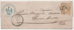 Lettre  (LSC) Adressée De COUR ET BUIS (Isère) A REVEL TOURDAN Avec GC 4570 (Indice 21) Sur Y 21   (76223) - 1853-1860 Napoleon III