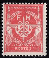 Timbre De France 1946 à 58  ' Yvert  12 ( Franchise Militaire )** MNH  '   ( Sans Valeur Indiquée ) Rouge - Franchise Militaire (timbres)
