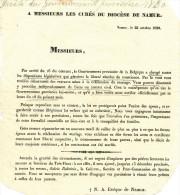 Gouvernement Provisoire 1830 - Document Sur La Célébration Du Mariage Aux Curés Du Diocèse De NAMUR  --  WW308 - 1830-1849 (Belgique Indépendante)