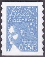 France Autoadhésif N°   48 A ** Ou 3729 B Au Modèle 3737 - Marianne Du 14 Juillet De Luquet 0.75 Eur. Bleu - Francia