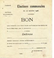 Province Du LUXEMBOURG - Elections Communales 1926 -BON Pour Un Billet De Chemins De Fer  --  WW310 - Railway