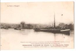 BOUGIVAL (78). La Seine. Chalands Automoteurs-porteurs à Propulseur Amovible. Messageries Fluviales De France - Hausboote