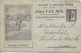 TP 81 Roulette Bruxelles 1910 S/CP Publicitaire Pour Le Gazon Japonais V.Forchies La Marche PR1873 - Precancels
