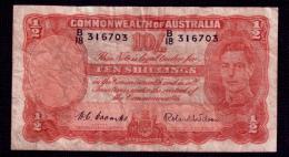 Australia 10 Shillings 1952 P.25d VG - Pre-decimal Government Issues 1913-1965