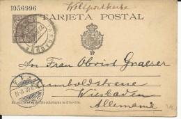 ESPAGNE - 1902 - CARTE ENTIER POSTAL De TARRAGONA Pour WIESBADEN (ALLEMAGNE) - Entiers Postaux