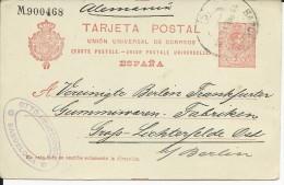 ESPAGNE - 1912 - CARTE ENTIER POSTAL De BARCELONA Pour BERLIN (ALLEMAGNE)