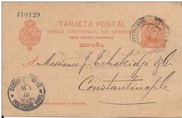ESPAGNE - 1902 - CARTE ENTIER POSTAL De BARCELONA ESTAFETA Pour CONSTANTINOPLE (BUREAU ALLEMAND EN TURQUIE) -
