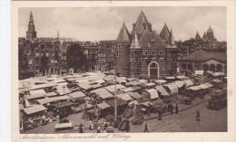 Amsterdam Nieuwmarkt Met Waag En Vischpoort Volk Op Markt Tram TRAMWAY - Amsterdam