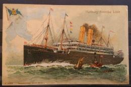 1911 U.S Seapost - Lithograph - Hamburg Amerika Linie - Postdampfer Amerika - Gebraucht - Ferries