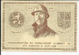 Carte Maximum -1er Jour - Inauguration Du Monument Albert 1er  4/09/1938 Guerre 14/18 ( Jean De La Fontaine 55 C ) - Postmark Collection (Covers)
