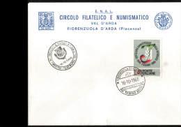 16-10-1966 ANNULLO SPECIALE 1° MOSTRA FILATELICA NUMISMATICA VAL D'ARDA FIORENZUOLA 29017 PIACENZA BUSTA - Expositions Philatéliques