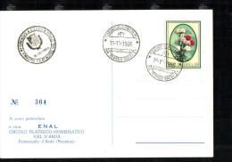 16-10-1966 ANNULLO SPECIALE 1° MOSTRA FILATELICA NUMISMATICA VAL D'ARDA FIORENZUOLA 29017 PIACENZA CARTOLINA N° 364 - Expositions Philatéliques