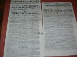 MARENNES  1842 / 1843 /1844 1845 / JOURNAL LOT 5 NUMEROS / FEUILLE COMMERCIALE / AFFICHES ET LITTERAIRE - 1800 - 1849