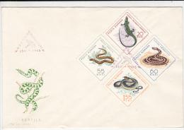 1218FM- REPTILES, SNAKE, LIZZARD, COVER FDC, 1965, ROMANIA - Snakes