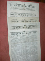 MARENNES  1848 /1849 / 1850 / JOURNAL LOT 5 NUMEROS / FEUILLE COMMERCIALE / AFFICHES ET LITTERAIRE - 1800 - 1849