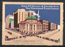 Vignette Publicitaire Cleveland Ohio, East 9th Street & Euclid Avenue, The Cleveland Trust Corner, Bürger Stehen Schl - Cinderellas