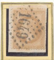 N°28 SUR FRAGMENT LOSANGE GRANDS CHIFFRES. - 1863-1870 Napoléon III Lauré