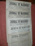 MARENNES   / 1857 /  1858 /1860 /  JOURNAL LOT 5 NUMEROS / FEUILLE COMMERCIALE / AFFICHES ET LITTERAIRE - 1800 - 1849