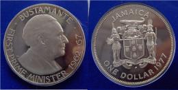 JAMAICA 1$ 1977 MONETA SIGILLATA PRIMO MINISTRO BUSTAMANTE FONDO SPECCHIO - Giamaica