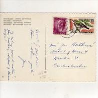 """Timbres Yvert N° 664 , 756 """" Oiseau """" / Carte , Postcard Du 23/03/70  Pour La Tchécoslovaquie - Lettres & Documents"""