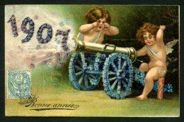 CPA - Bonne Année 1907 - ANGELOTS - Carte Gaufrée - Angels