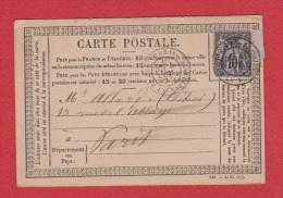 Carte Postale  ---   De Parist     --   Pour Paris      ---  4 Oct 1877 - Entiers Postaux