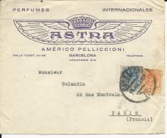 ESPAGNE - 1923 - ENVELOPPE PUBLICITAIRE DECOREE (PARFUMS) De BARCELONA Pour PARIS - 1889-1931 Kingdom: Alphonse XIII