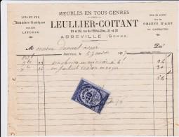 Meubles En Tous Genres - Leullier-Coitant - Abbeville, Facture  Du 5 Janvier 1877. - France