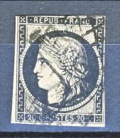 Francia 1849 Ceres N. 3A C. 20, Nero Su Bianco Annullo A Griglia - 1849-1850 Cérès