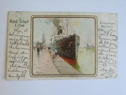 Cp/pk Red Star Line Antwerpen New York 1902 Cassiers - Paquebots