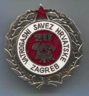 Fireman, Pompier, Firefighters, Bombero, Feuerwehr - FIRE FIGHTING ASSOCIATION, Croatia, Enamel, Medal, 40mm - Pompiers