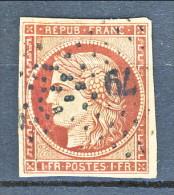 Francia 1849 Ceres N. 6 Fr. 1 Carminio, Grandi Margini, Annullo Stella 79 Di Angerville (pc), Firmato Biondi Cat € 950 - 1849-1850 Ceres