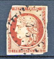 Francia 1849 Ceres N. 6 Fr. 1 Carminio , Difettoso, Annullo N. 415 Di Blesle (piccole Cifre) - 1849-1850 Ceres