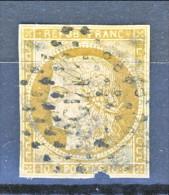 Francia 1850 Ceres N. 1 C. 10 Bistro Giallo  Usato - 1849-1850 Ceres