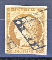 Francia 1850 Ceres N. 1A C. 10 Bistro Bruno Usato, Annullo A Griglia - 1849-1850 Ceres