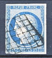 Francia 1850 Ceres N. 4 C. 25 Azzurro  Usato Annullo A Griglia - 1849-1850 Ceres