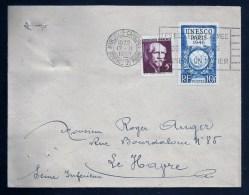 Affr. Langevin & Unesco / MARSEILLE 7.02.1950 Pour LE HAVRE - Marcophilie (Lettres)