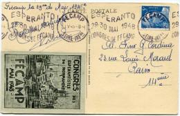 FRANCE THEME ESPERANTO CARTE POSTALE AVEC VIGNETTE ESPERANTO + OBLITERATION AVEC FLAMME ESPERANTO 29-30 MAI 1948..FECAMP - Esperanto