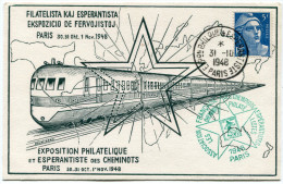 FRANCE THEME ESPERANTO CARTE EXPOSITION PHILATELIQUE ET ESPERANTISTE DES CHEMINOTS 30.31 OCT. 1er NOV.1948 AVEC VIGNETTE - Esperanto
