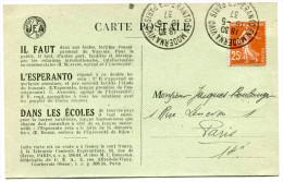 FRANCE THEME ESPERANTO CARTE ESPERANTO AVEC VIGNETTE + OBLITERATION ESPERANTO EN MODERNA VIVO PARIS 16-5-37 - Esperanto