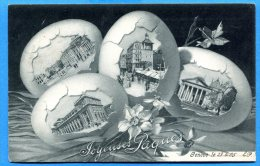 AVR158, Genève, Genf, Les Monuments De La Ville Dans Des Oeufs De Pâques, Joyeuses Pâques, Jonquilles, Circulée 1905 - GE Genève