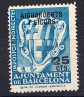 AJUNTAMENT DE BARCELONA 1935   25 CENTIMOS.AGUARDENTS I LICORS USADO  SES904 - Fiscaux