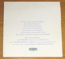 Disque 219 Vinyle 45 T Pub Gervais Taillefine Disque 1 Face Tout Mou épaisseur D'une Feuille De Papier Chanté Par Dani - Vinyl-Schallplatten
