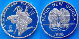 PAPUA NUOVA GUINEA 5 K 1998 ARGENTO PROOF NEW RAR GREEN TREE PYTHON PITONE SERPENTE PESO 31,43g TITOLO 0,925 CONSERVAZIO - Papuasia Nuova Guinea