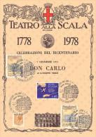 BICENTENARIO TEATRO ALLA SCALA MILANO 1778 / 1978 - 7 DICEMBRE 1977 - DON CARLO DI GIUSEPPE VERDI SU CARTONCINO - Teatro