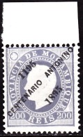 MOÇAMBIQUE-1895,D. Luís L, Fita Direita C/ Sob. Comª 7º Centº Nascº S.António   200 R. D.12 1/2  P.porc. **MNH  Af.nº 48 - Mozambique