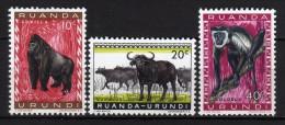 RUANDA URUNDI - 1959/61 Scott# 137+138+139 * - Ruanda