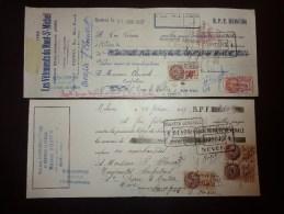2 Lettres De Change-rideaux Portieres Stores Maison Augier Mehun------les Vetements Du Mont St Michel Ets Aries Rennes - Revenue Stamps